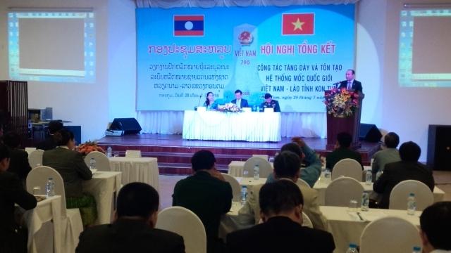 Hoàn thành công tác tăng dày và tôn tạo hệ thống mốc quốc giới Việt Nam-Lào đoạn qua tỉnh Kon Tum