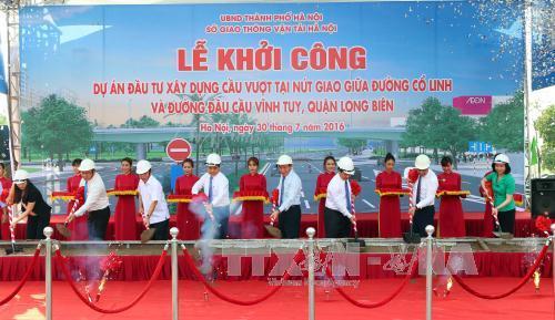 Hà Nội khởi công xây dựng cầu vượt nút giao đường Cổ Linh - cầu Vĩnh Tuy