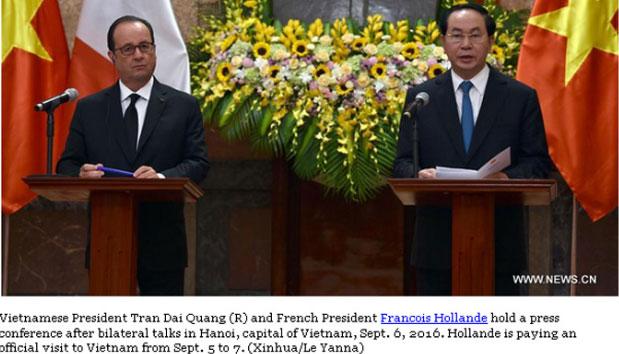 Truyền thông quốc tế đưa tin về chuyến thăm Việt Nam của Tổng thống Pháp Francois Hollande