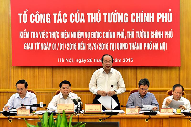 Hà Nội cần thực hiện quyết liệt những chỉ đạo của Thủ tướng Chính phủ