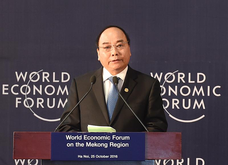 Thủ tướng Nguyễn Xuân Phúc phát biểu khai mạc Diễn đàn Kinh tế Thế giới về khu vực Mê Công