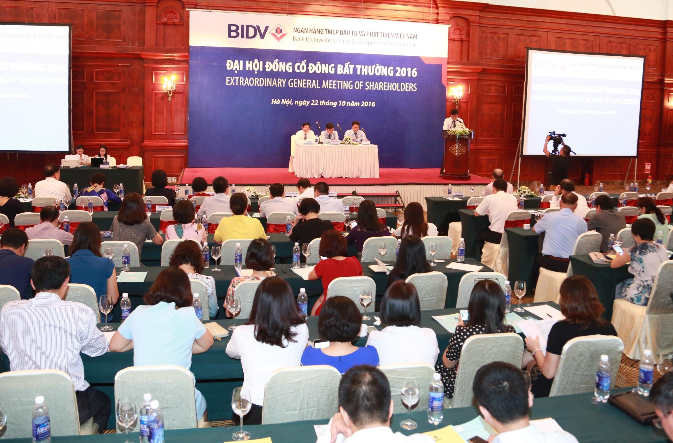 Ngân hàng BIDV tổ chức Đại hội đồng cổ đông bất thường năm 2016