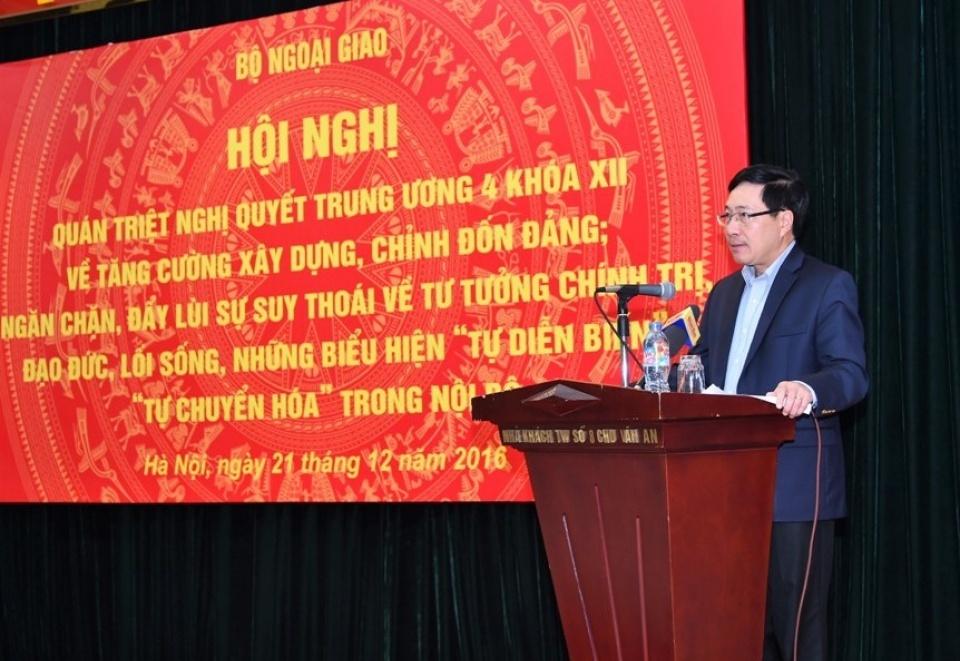 Bộ Ngoại giao quán triệt Nghị quyết Trung ương 4 về tăng cường xây dựng, chỉnh đốn Đảng