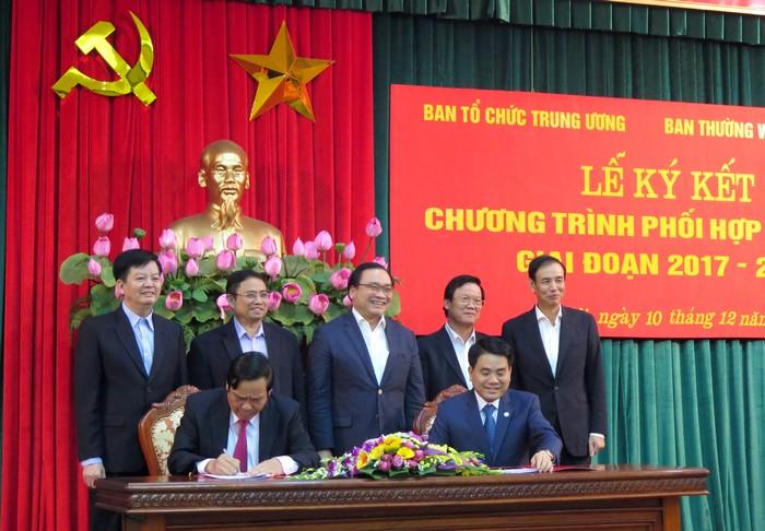 Ban Tổ chức Trung ương và Ban Thường vụ Thành ủy Hà Nội ký kết chương trình phối hợp công tác