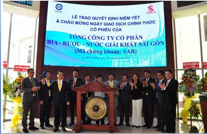 Tổng Công ty Cổ phần Bia – Rượu – Nước giải khát Sài Gòn (SABECO) chính thức lên sàn chứng khoán