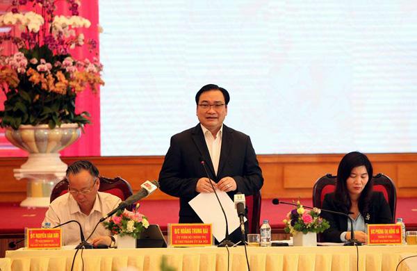 Bí thư Thành ủy Hà Nội Hoàng Trung Hải làm việc với Quận ủy Hà Đông