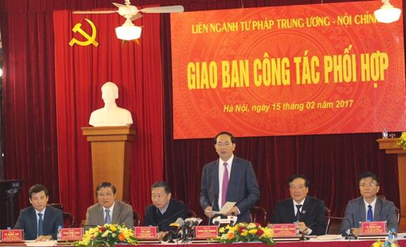 Hội nghị giao ban Liên ngành Tư pháp Trung ương - Nội chính