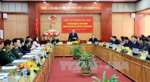 Phó Thủ tướng Thường trực Chính phủ Trương Hòa Bình làm việc tại tỉnh Lạng Sơn