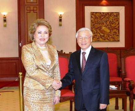 Tổng Bí thư Nguyễn Phú Trọng tiếp Chủ tịch Hội đồng Liên bang Nga