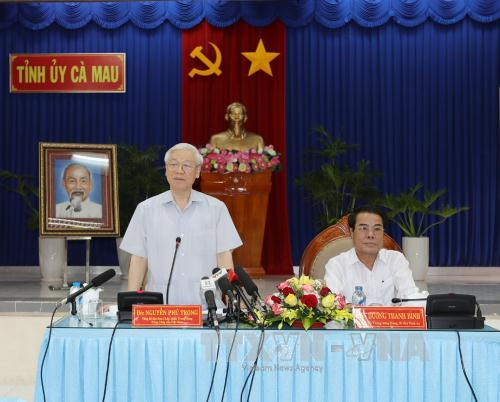 Tổng Bí thư Nguyễn Phú Trọng: Cà Mau cần tiếp tục phát triển mạnh kinh tế biển, kinh tế rừng