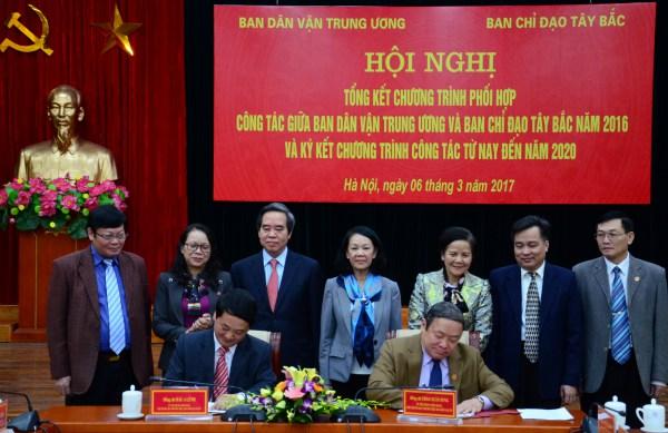 Ban Dân vận Trung ương và Ban Chỉ đạo Tây Bắc ký kết chương trình phối hợp công tác