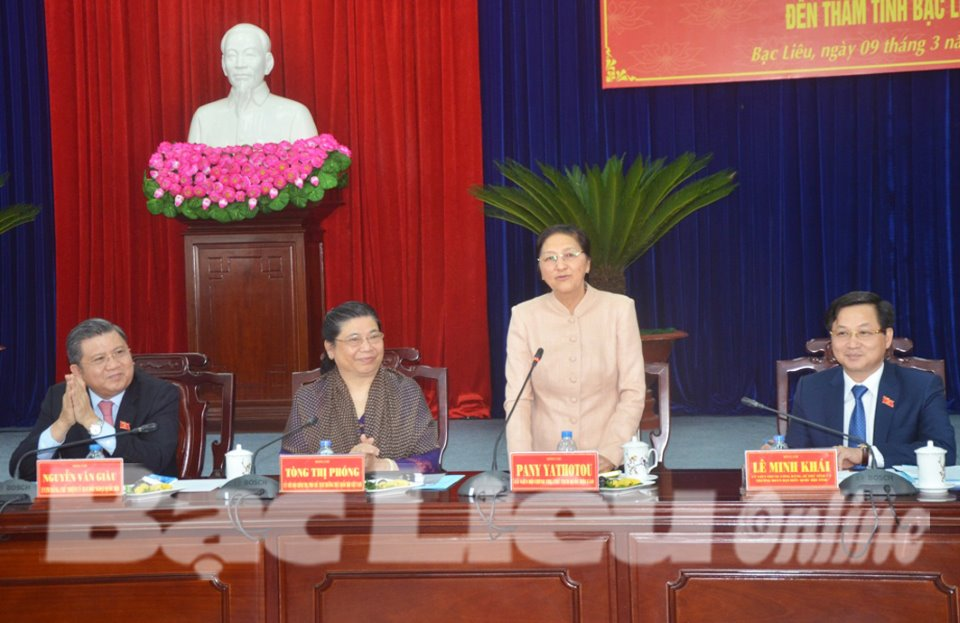 Chủ tịch Quốc hội Lào - Pany Yathotou thăm và làm việc tại Bạc Liêu