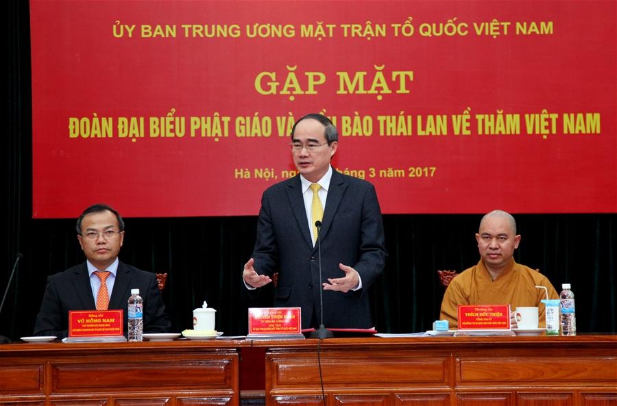 Đồng chí Nguyễn Thiện Nhân tiếp đoàn đại biểu Phật giáo và kiều bào Thái Lan