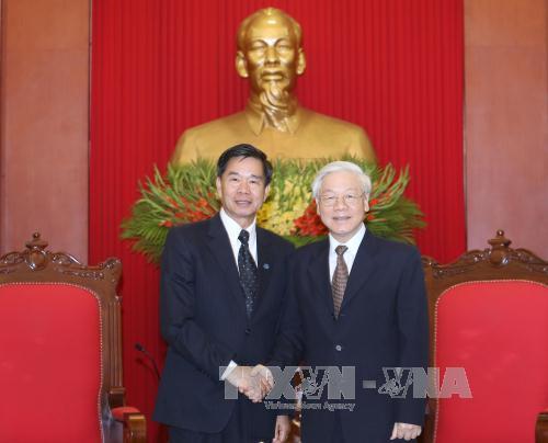 Tổng Bí thư Nguyễn Phú Trọng tiếp Bí thư - Đô trưởng Viêng Chăn