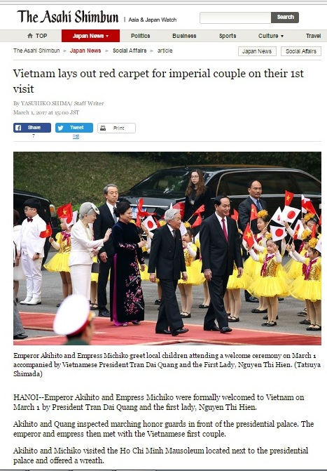 Báo chí quốc tế đưa tin về chuyến thăm Việt Nam của Nhà vua và Hoàng hậu Nhật Bản
