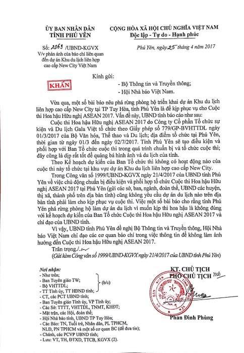 Phú Yên đề nghị báo chí không làm ảnh hưởng đến Cuộc thi hoa hậu Hữu nghị ASEAN 2017