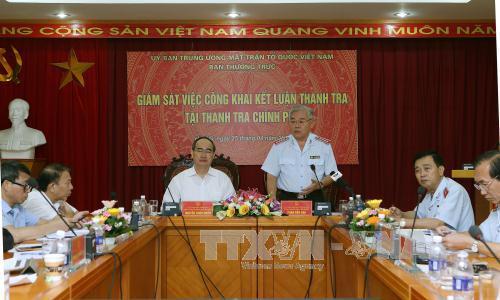 Ban Thường trực Ủy ban Trung ương MTTQ Việt Nam giám sát việc công khai kết luận thanh tra