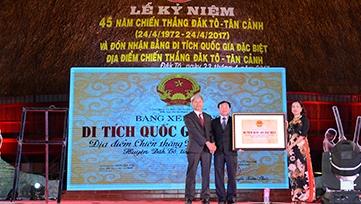 Đón nhận Bằng di tích quốc gia đặc biệt Địa điểm chiến thắng Đắk Tô - Tân Cảnh