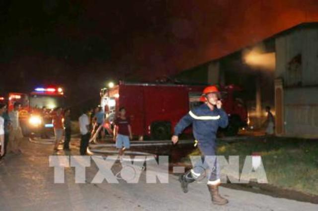 Hỏa hoạn tại kho chứa bột sắn ở Đồng Nai