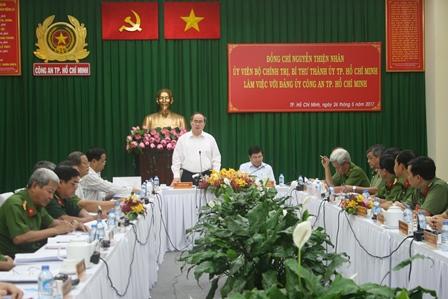 Bí thư Thành ủy TP.Hồ Chí Minh làm việc với Công an TP.Hồ Chí Minh và Cảnh sát PCCC Thành phố