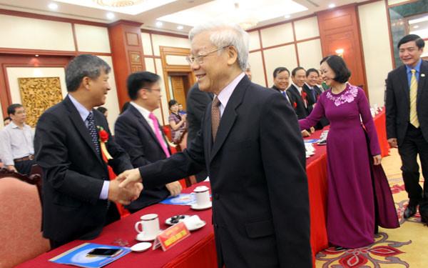 Tổng Bí thư Nguyễn Phú Trọng gặp mặt các đại biểu được vinh danh trong Chương trình Vinh quang Việt Nam