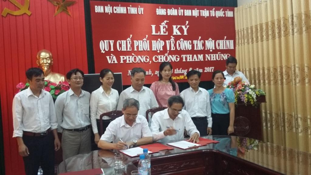 Nam Định: Ký kết quy chế phối hợp về công tác nội chính và phòng, chống tham nhũng