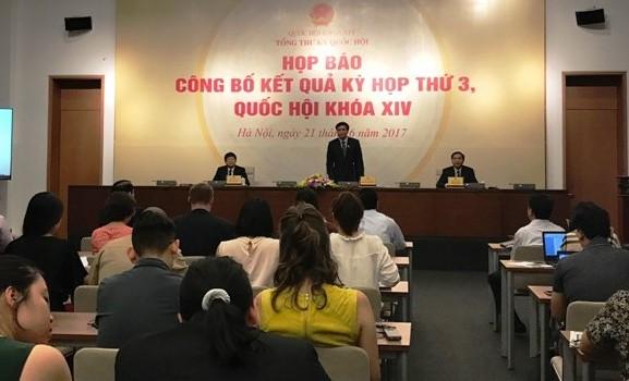 Công bố kết quả kỳ họp thứ 3, Quốc hội khoá XIV