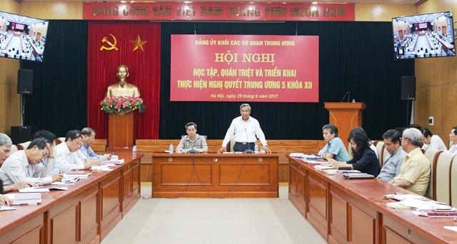 Đảng bộ Khối các cơ quan Trung ương triển khai thực hiện Nghị quyết Trung ương 5 khóa XII