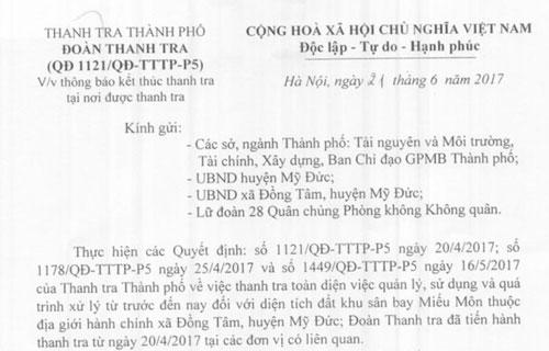 Hà Nội kết thúc thanh tra đất đai tại xã Đồng Tâm