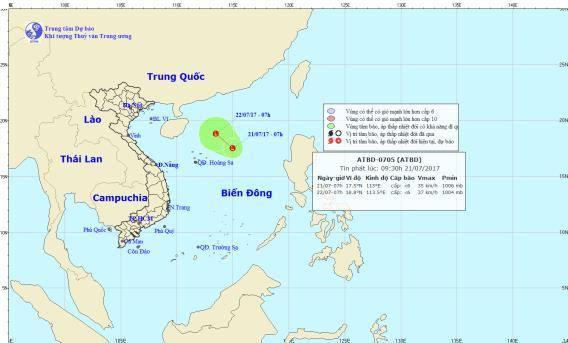 Một vùng áp thấp đã hình thành trên Bắc Biển Đông