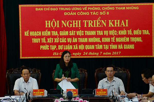 Ban Chỉ đạo Trung ương về phòng, chống tham nhũng làm việc tại Hà Giang
