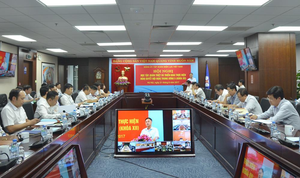 Đảng ủy EVN học tập, quán triệt và triển khai thực hiện Nghị quyết Trung ương 5, khóa XII