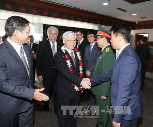 Tổng Bí thư Nguyễn Phú Trọng hội kiến với Chủ tịch Hội đồng đại biểu địa phương Indonesia