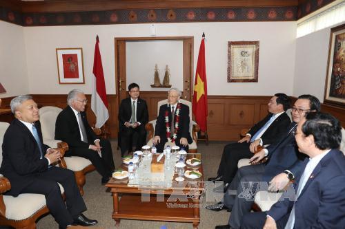 Tổng Bí thư Nguyễn Phú Trọng hội kiến với Chủ tịch Hội đồng Đại biểu nhân dân Indonesia Setya Novanto