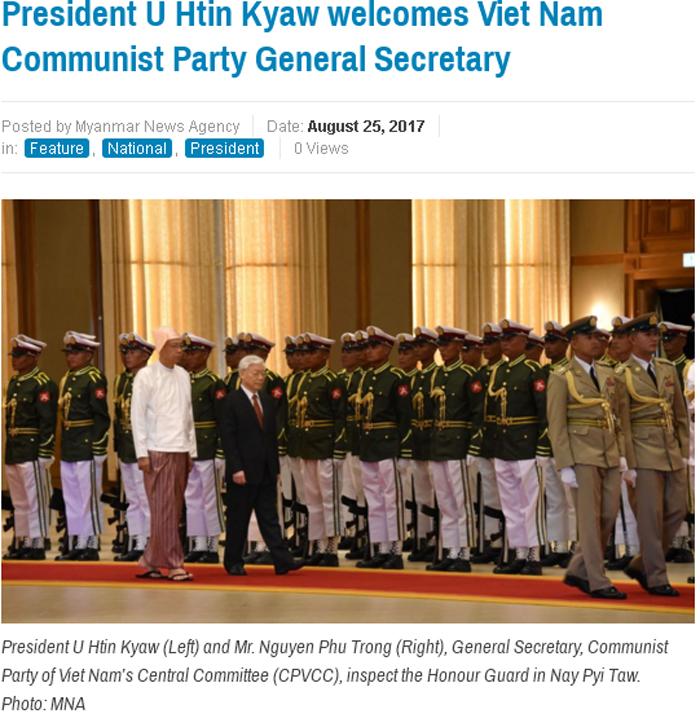 Báo chí khu vực đưa tin về chuyến thăm Myanmar của Tổng Bí thư Nguyễn Phú Trọng