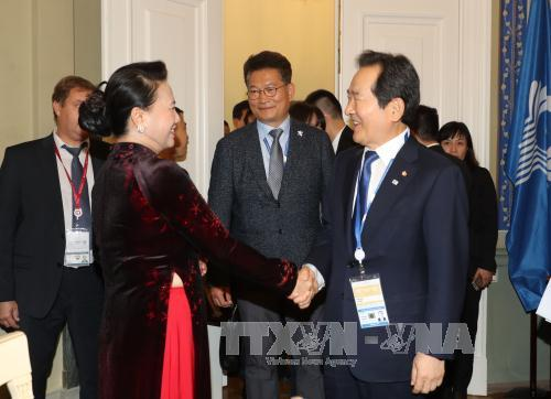 Chủ tịch Quốc hội Nguyễn Thị Kim Ngân hội kiến Chủ tịch Quốc hội Hàn Quốc