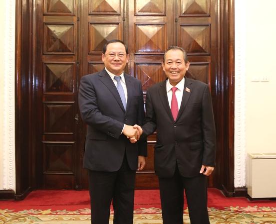 Phó Thủ tướng Trương Hòa Bình hội đàm với Phó Thủ tướng Lào Sonexay Siphandone