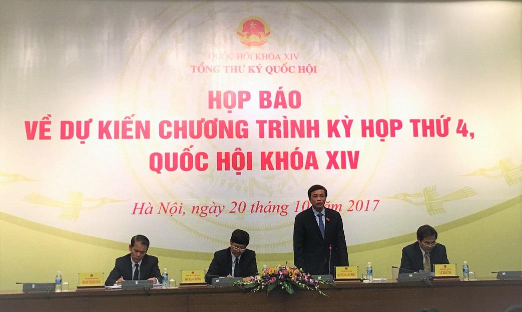 Kỳ họp thứ 4, Quốc hội khóa XIV diễn ra từ ngày 23/10 - 24/11/2017