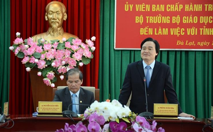 Bộ trưởng Bộ GD&ĐT Phùng Xuân Nhạ làm việc tại tỉnh Lâm Đồng