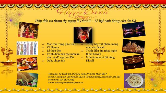 Lễ hội Ánh sáng Diwali 2017 sẽ diễn ra tại Trung tâm Văn hóa Ấn Độ