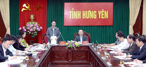 Đoàn kiểm tra của Ban Bí thư Trung ương Đảng làm việc tại Hưng Yên