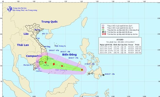 Trong 24 giờ tới, áp thấp nhiệt đới di chuyển theo hướng Tây Tây Bắc và mạnh thêm