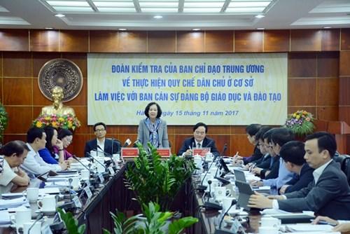 Kiểm tra thực hiện quy chế dân chủ ở cơ sở tại Bộ Giáo dục & Đào tạo