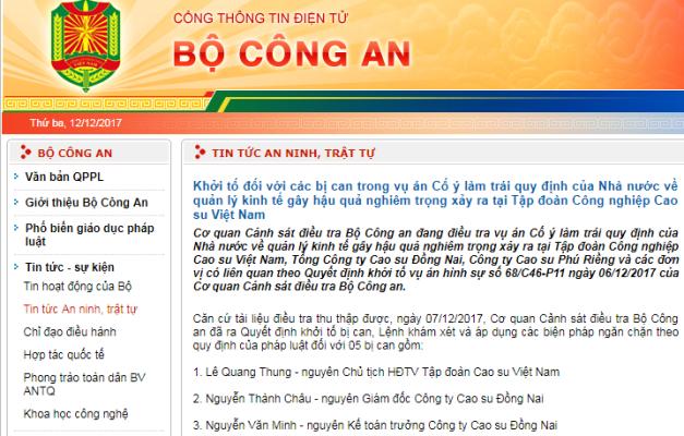 Khởi tố nguyên Chủ tịch Hội đồng thành viên Tập đoàn Cao su Việt Nam