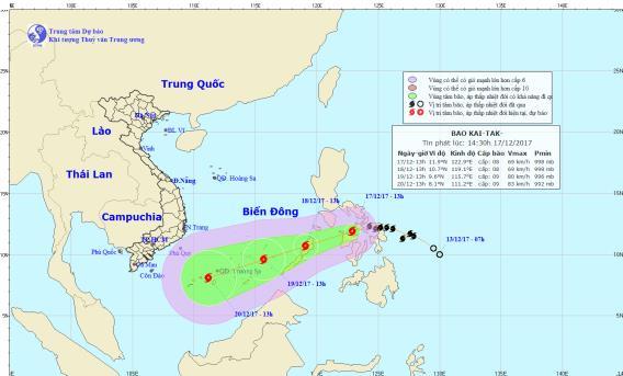 Bão Kai-tak di chuyển theo hướng Tây Tây Nam, mỗi giờ đi được 15-20 km