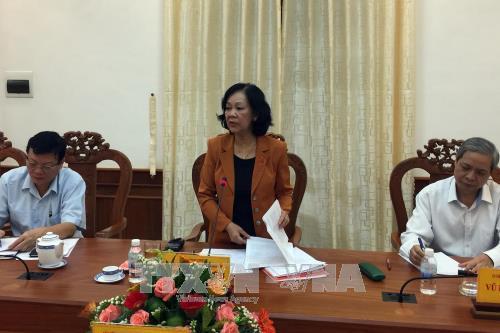 Trưởng Ban Dân vận Trung ương Trương Thị Mai làm việc tại Ninh Thuận