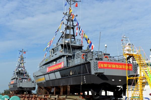 Hạ thủy 02 hai tàu tuần tra cao tốc cho Bộ đội Biên phòng