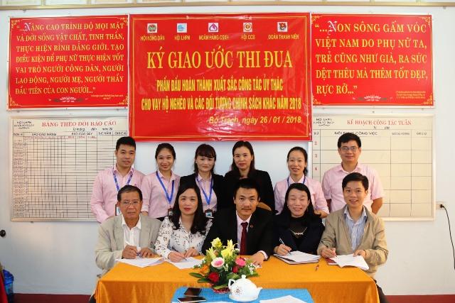 Bố Trạch, Quảng Bình: NHCSXH huyện Ký giao ước thi đua với các tổ chức chính trị - xã hội trên địa bàn