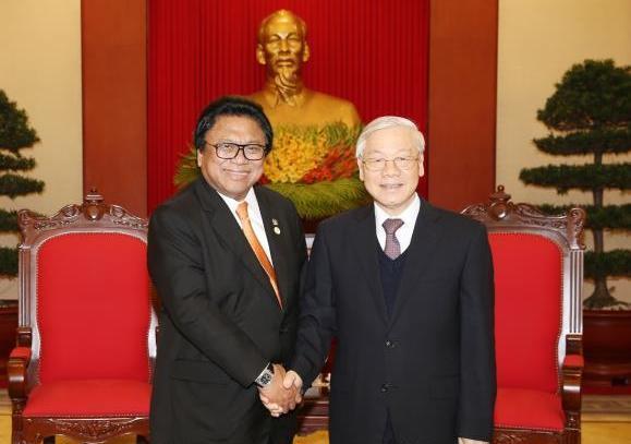 Tổng Bí thư Nguyễn Phú Trọng tiếp Đoàn đại biểu Hội đồng Đại biểu Địa phương In-đô-nê-xi-a