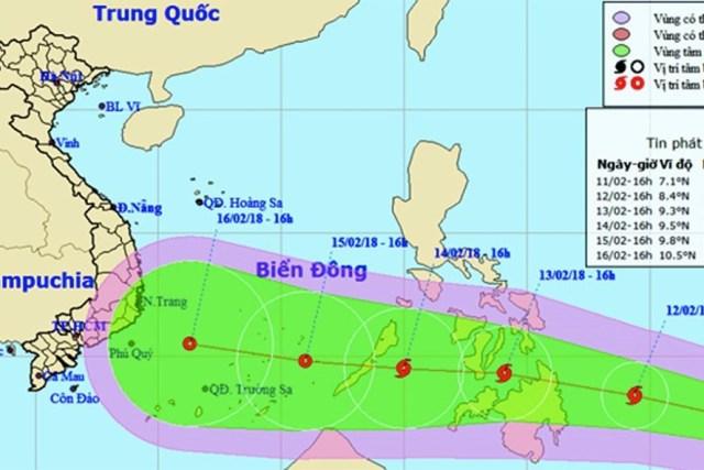 Áp thấp nhiệt đới trên khu vực phía Đông miền Nam Philippines mạnh lên thành bão